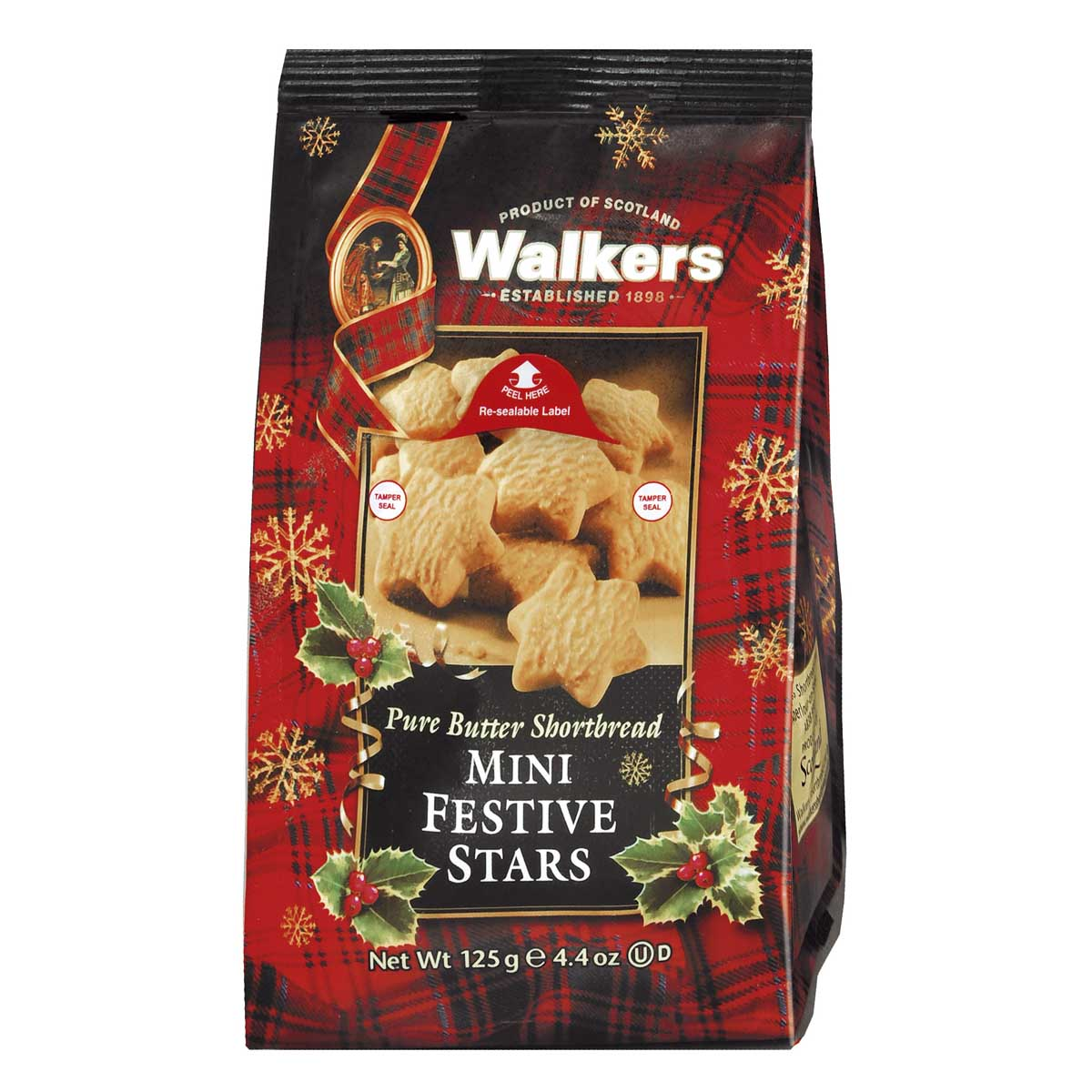 Walkers Shortbread – Mini Festive Shortbread Stars 125g.